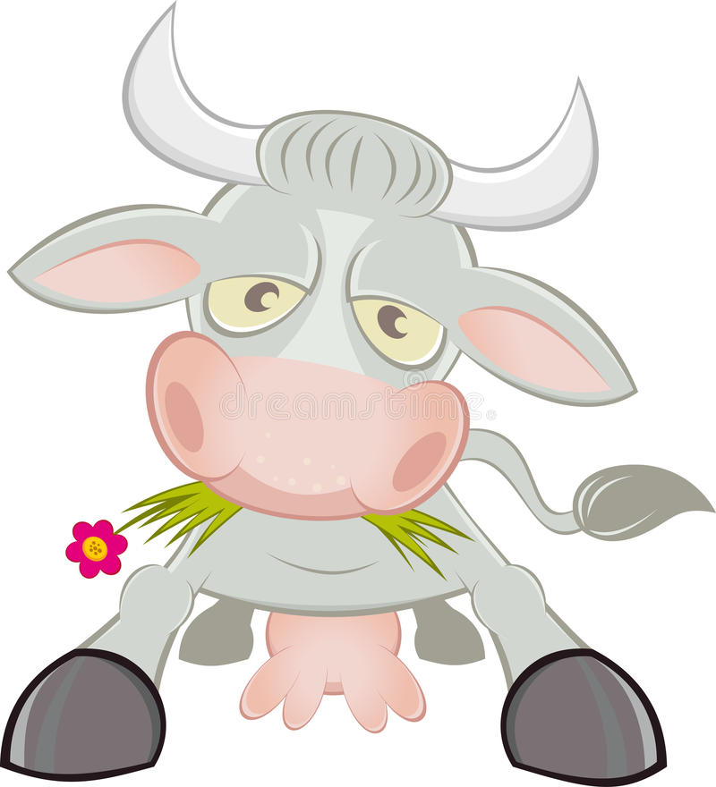 Download Cartoon cow character stock vector. Image of eating, flower - 19319310