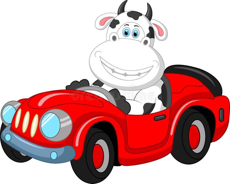 Cartoon cow driving a car vector illustration