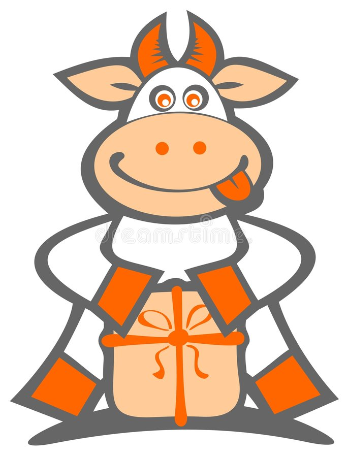 Download Cartoon Cow With Gift Royalty Free Stock Photos - Image: 7336698