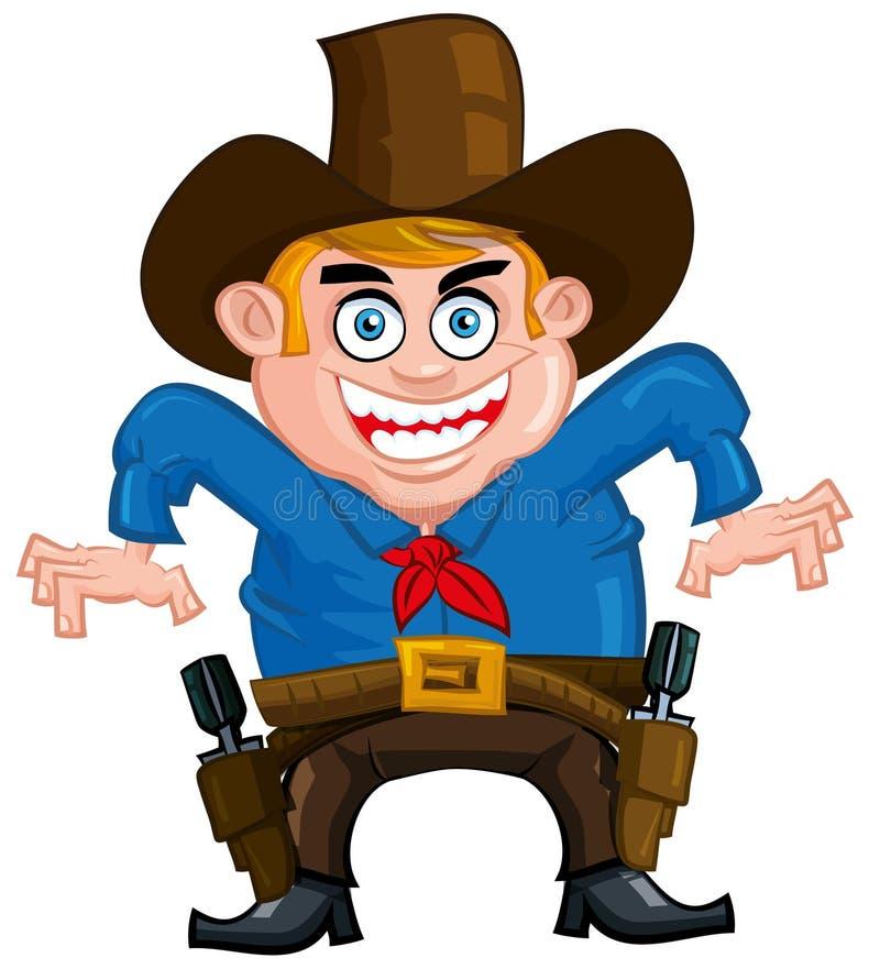 Cartoon cowboy. Ready to draw his gun vector illustration