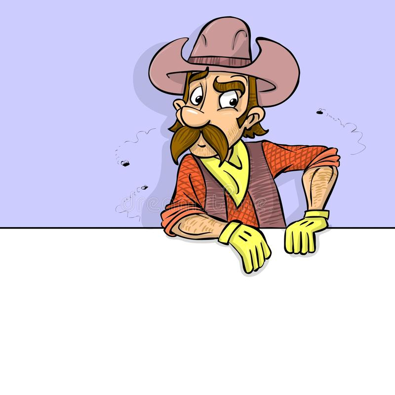 Cartoon cowboy and banner vector illustration