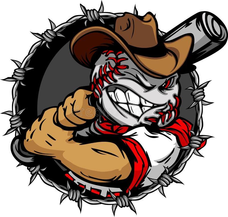 Cartoon Cowboy Baseball Face Holding Baseball Bat. Baseball Face Cartoon Cowboy Illustration vector illustration