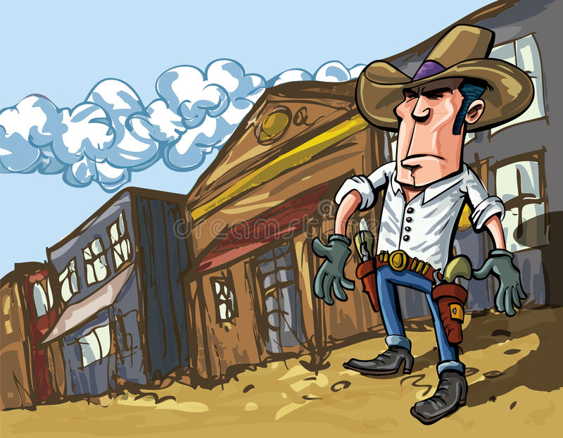 Cartoon cowboy casts a shadow. In the dusty streets of a old west town vector illustration