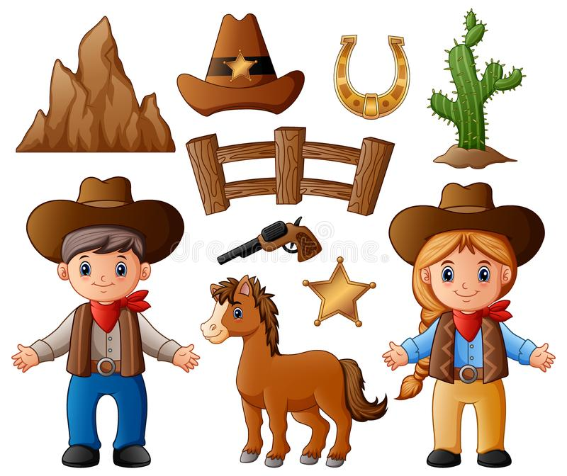 Cartoon cowboy and cowgirl with wild west elements. Illustration of Cartoon cowboy and cowgirl with wild west elements vector illustration