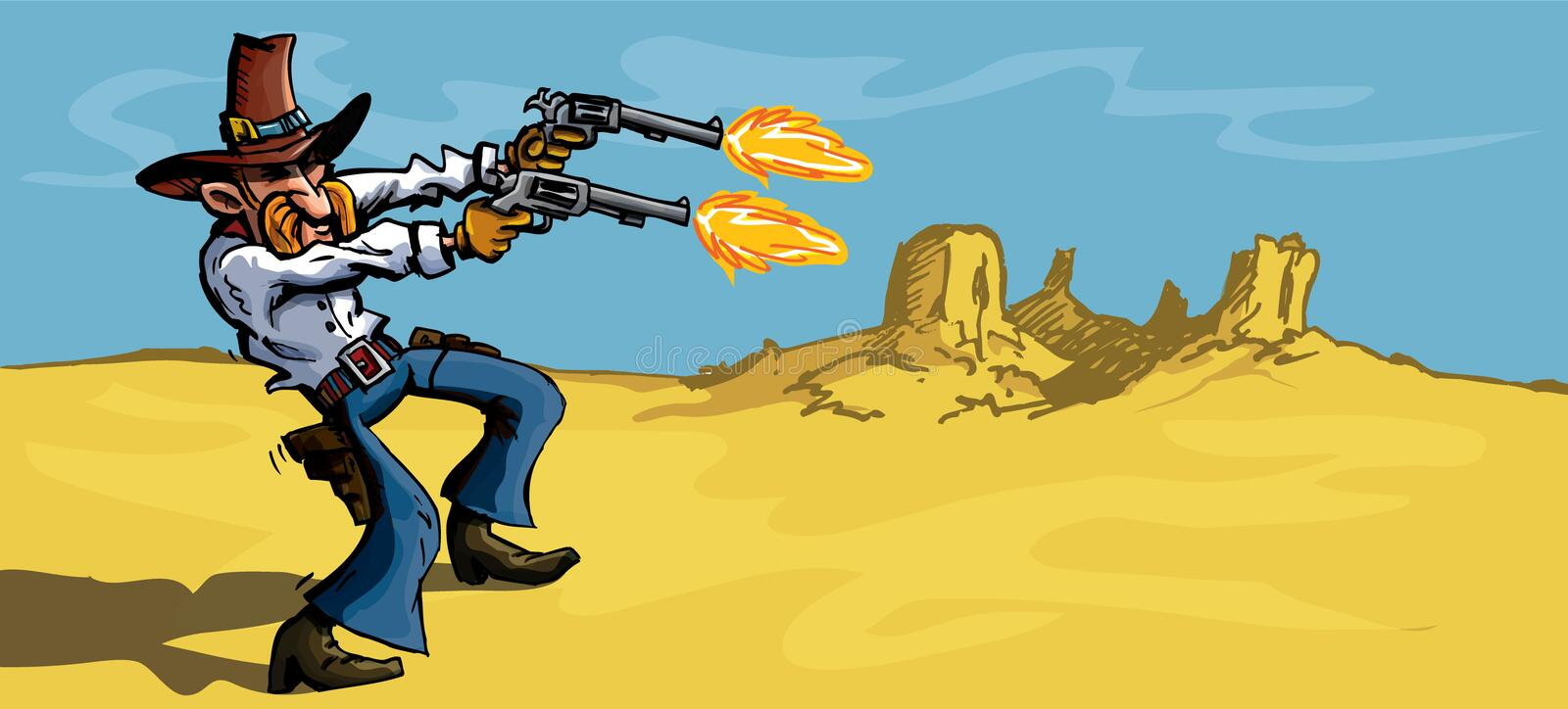 Cartoon cowboy in the desert firing his guns vector illustration