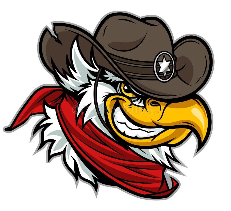 Cartoon cowboy eagle head vector illustration