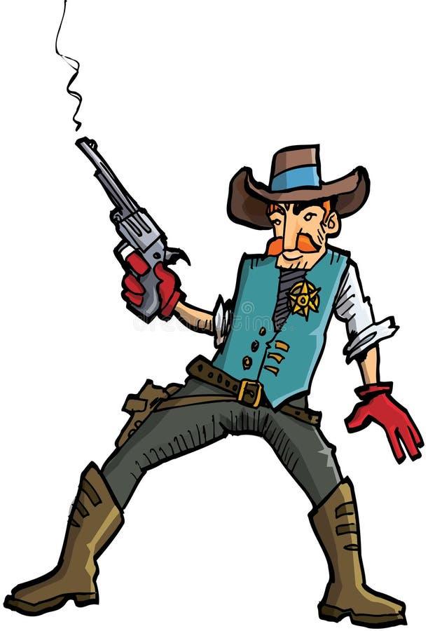 Cartoon cowboy with a gun belt and cowboy hat. Cartoon cowboy with a gun belt. Isolated on white royalty free illustration
