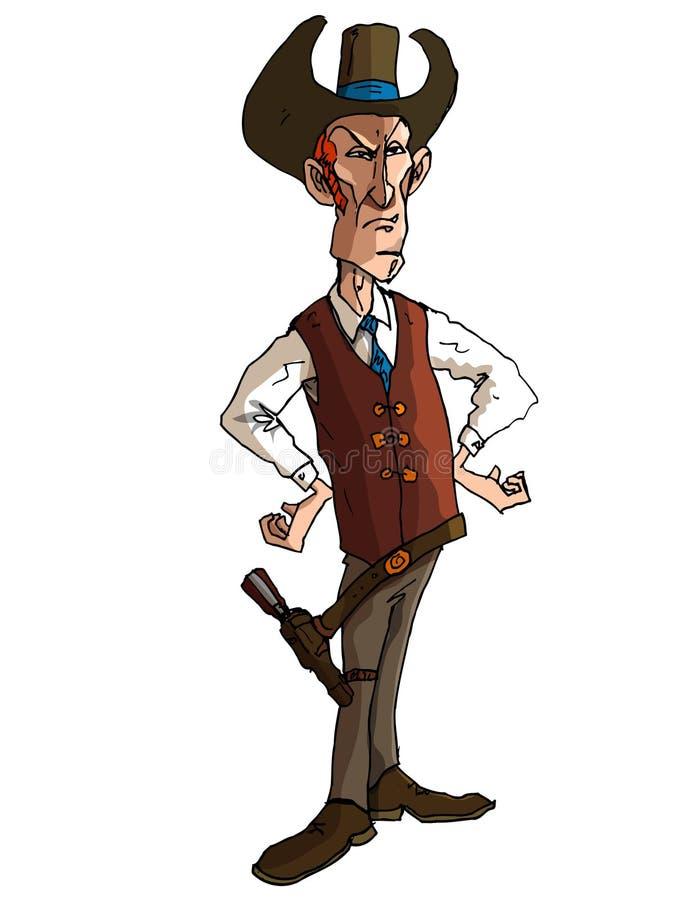 Cartoon cowboy with a gun belt and cowboy hat. Cartoon cowboy with a gun belt. Isolated on white stock illustration