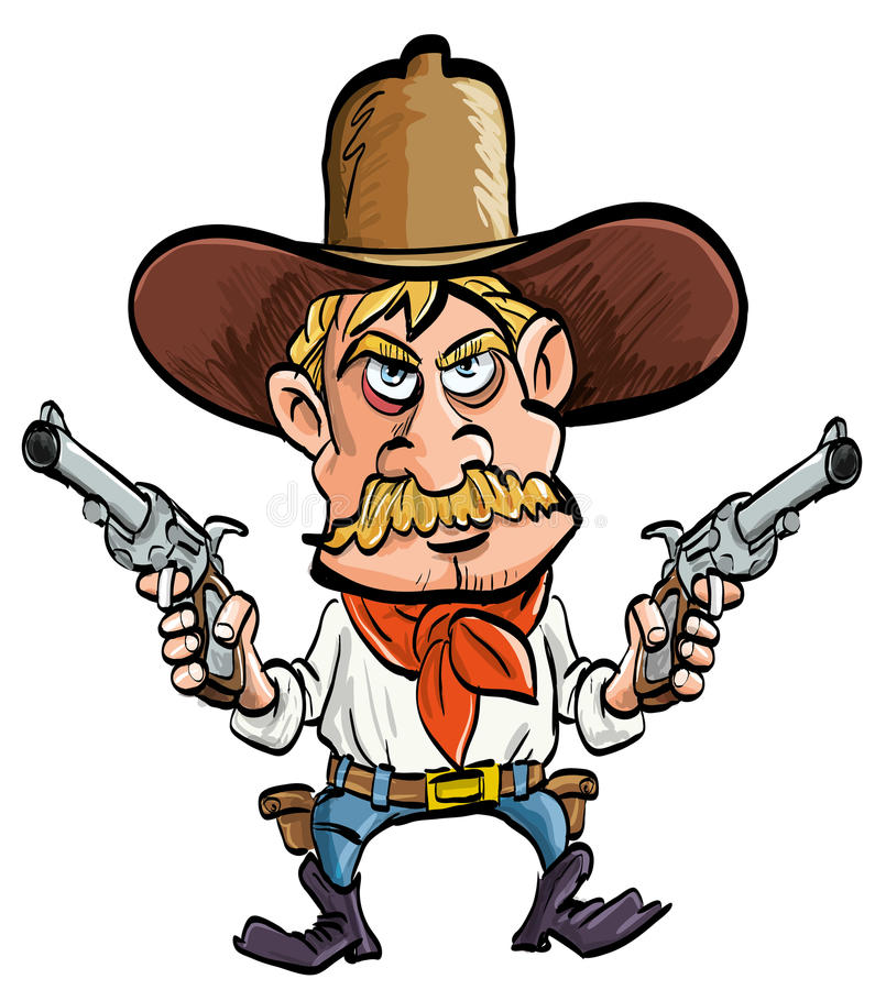 Cartoon cowboy with his guns drawn. Isolated on white vector illustration
