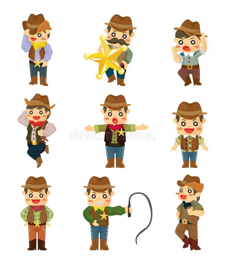 Cartoon cowboy icon. Vector, illustration vector illustration