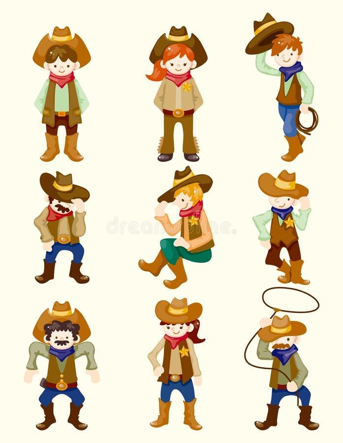 Cartoon cowboy icon. Vector, illustration stock illustration