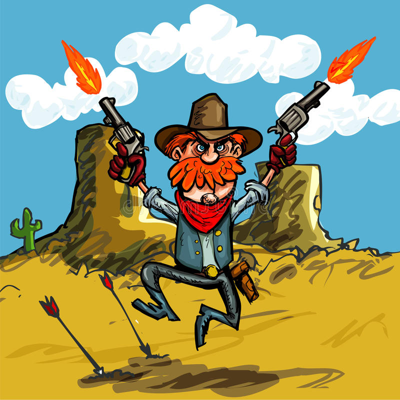 Cartoon cowboy jumping with his six guns stock illustration