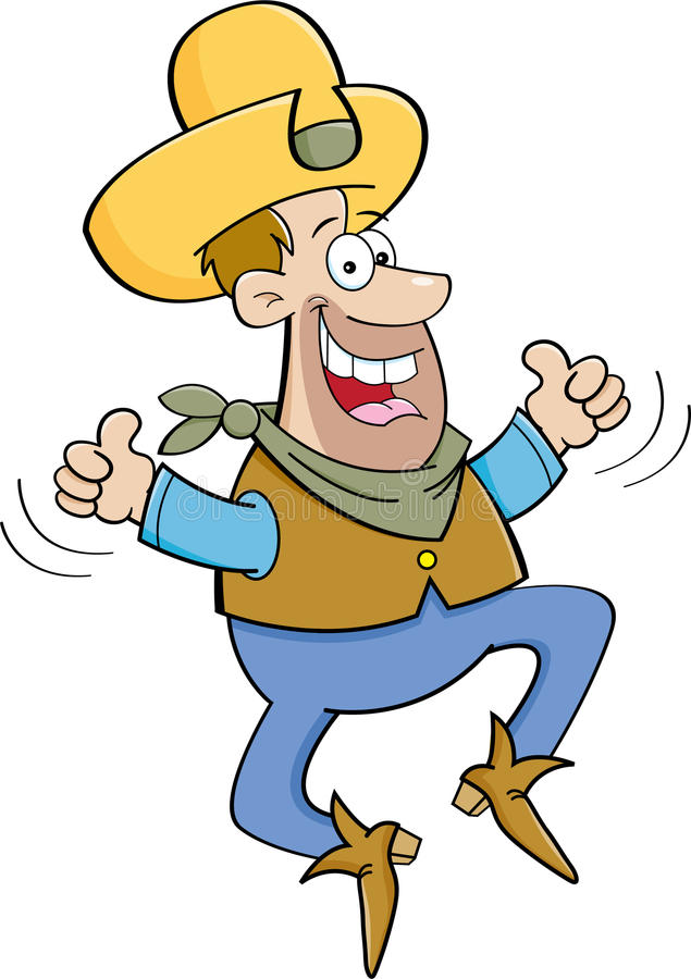 Cartoon cowboy jumping with two thumbs up. Cartoon illustration of a cowboy jumping with two thumbs up royalty free illustration