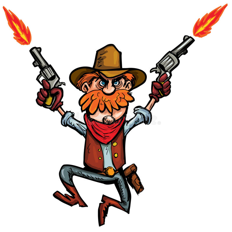 Cartoon cowboy jumping up and down with six guns. Isolated on white royalty free illustration