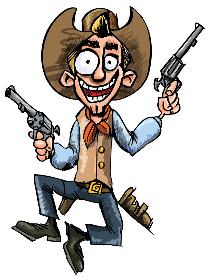 Cartoon cowboy jumping up and down with six guns. Isolated on white stock illustration