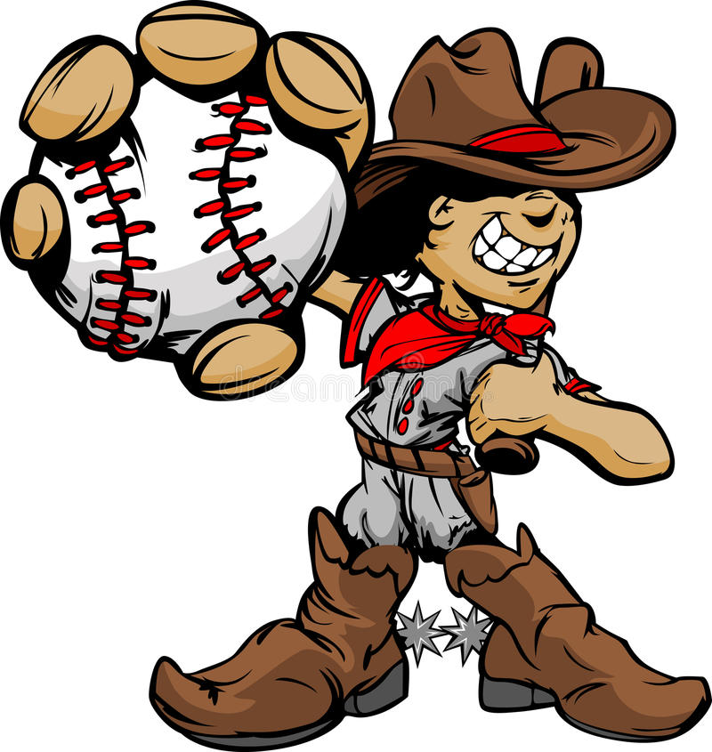 Cartoon Cowboy Kid Baseball Player Holding Ball stock illustration