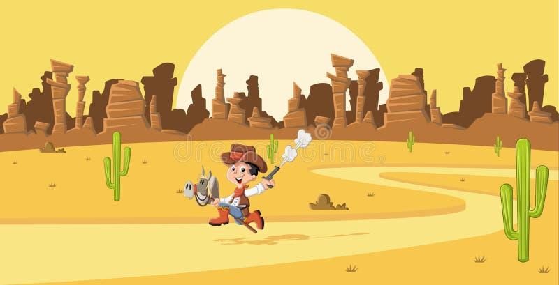 Cartoon cowboy kid galloping. On Wild west stock illustration