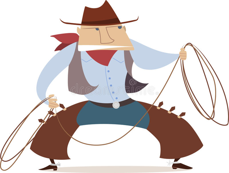 Cartoon cowboy with lasso. royalty free illustration