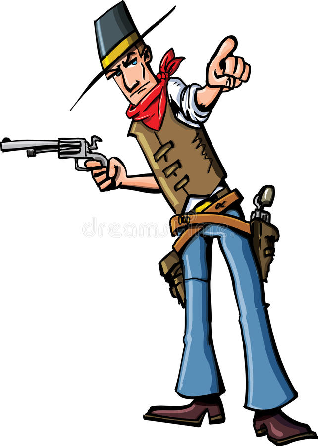 Cartoon cowboy pointing. He has a gun in his other hand royalty free illustration