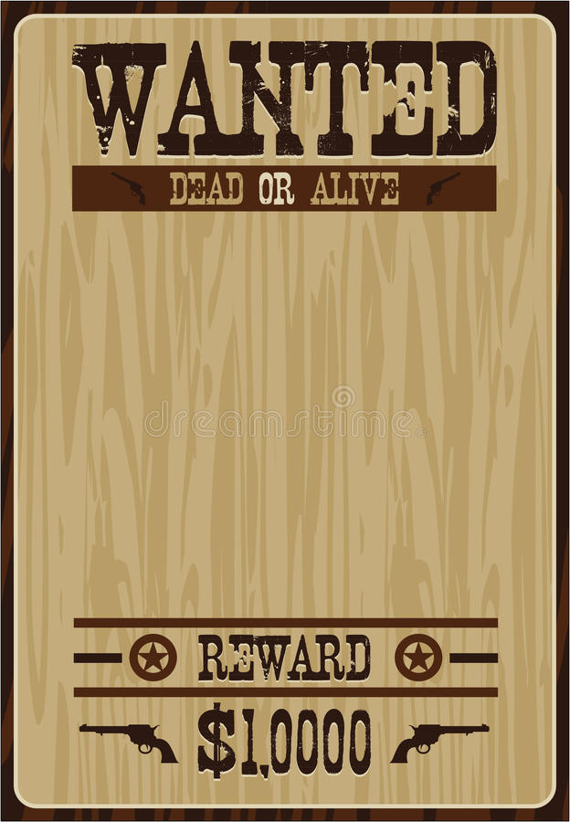 Cartoon Cowboy Poster. Vector Illustration of a Cartoon Wild West Cowboy Wanted Poster. An EPS file is also available vector illustration