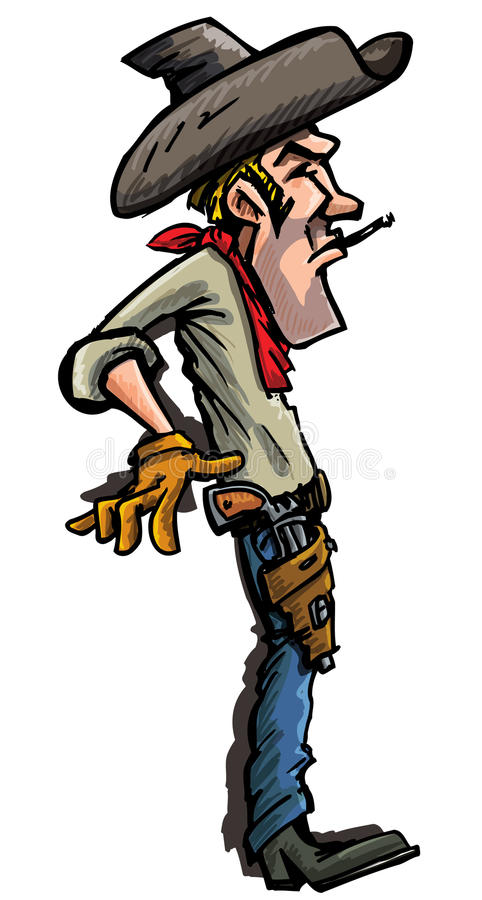 Cartoon cowboy ready to draw his guns. Side view isolated on white stock illustration