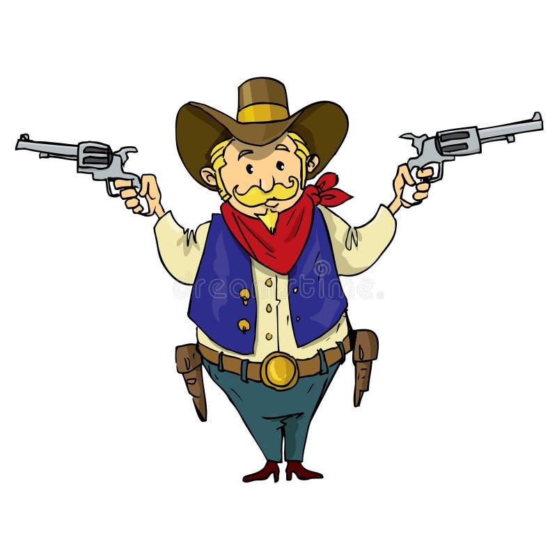 Cartoon cowboy with six-guns royalty free illustration