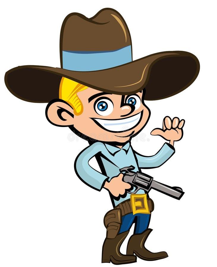 Cartoon cowboy with sixguns. Isolated on white stock illustration