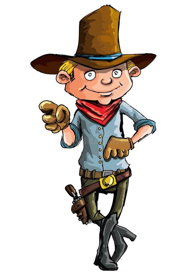 Cartoon cowboy with sixguns. Cartoon cowboy with six guns . Isolated on white vector illustration