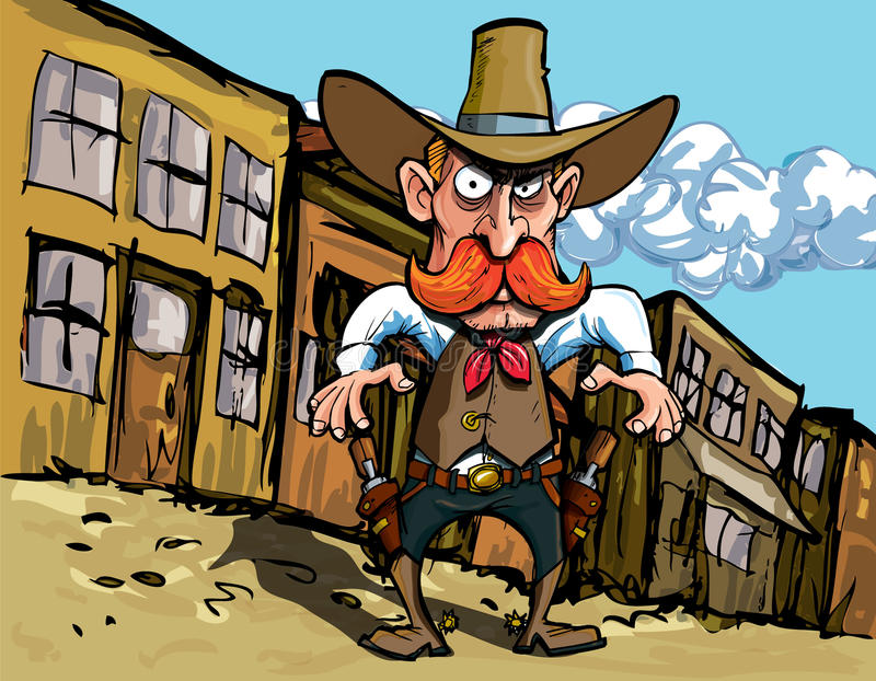 Cartoon cowboy with sixguns. Town street in the background vector illustration