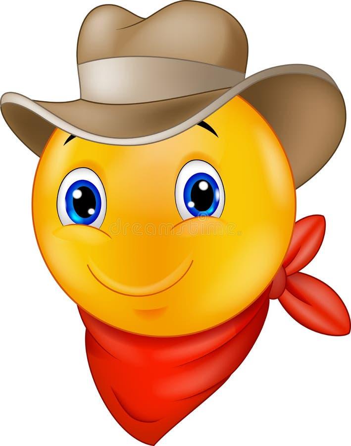 Cartoon Cowboy smiley emoticon. Illustration of Cartoon Cowboy smiley emoticon vector illustration