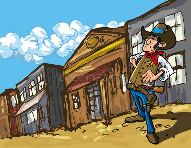 Cartoon cowboy in a western old west town. Looking down the street royalty free illustration