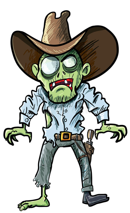 Download Cartoon Cowboy Zombie With Gun Belt And Hat Stock Illustration - Image: 24347563