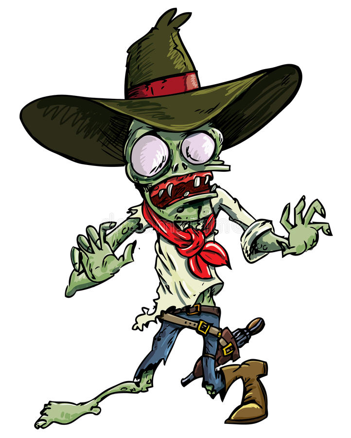 Cartoon cowboy zombie with gun belt and hat. Isolated on white royalty free illustration