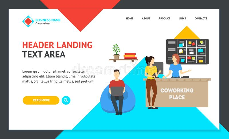 Cartoon Coworking Place Landing Web Page Template. Vector royalty free illustration