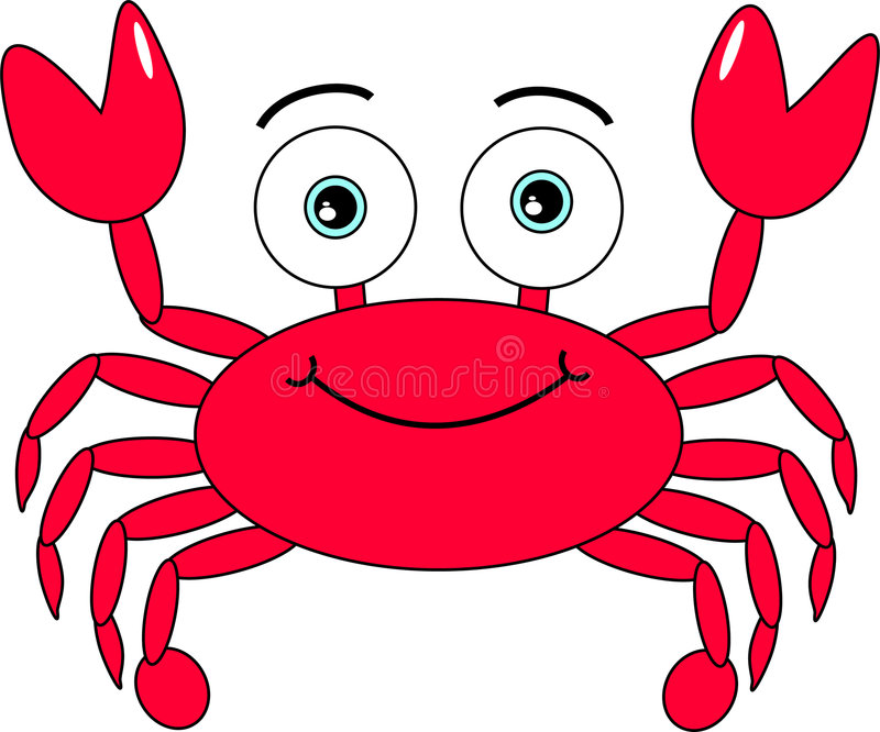 Cartoon Crab. Cute looking happy red crab royalty free illustration