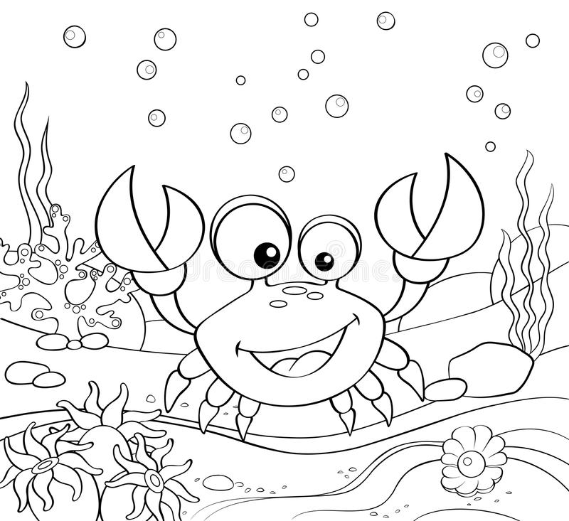 Cartoon crab. Underwater world. Black and white vector illustration for coloring book vector illustration