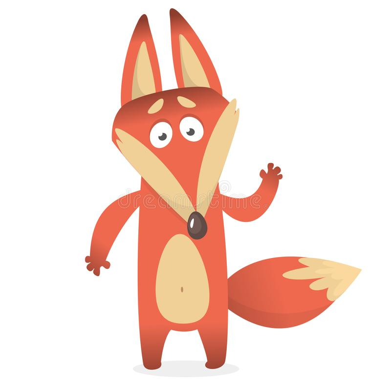 Cartoon of creeping sly fox with a large tail. Vector illustration. stock illustration