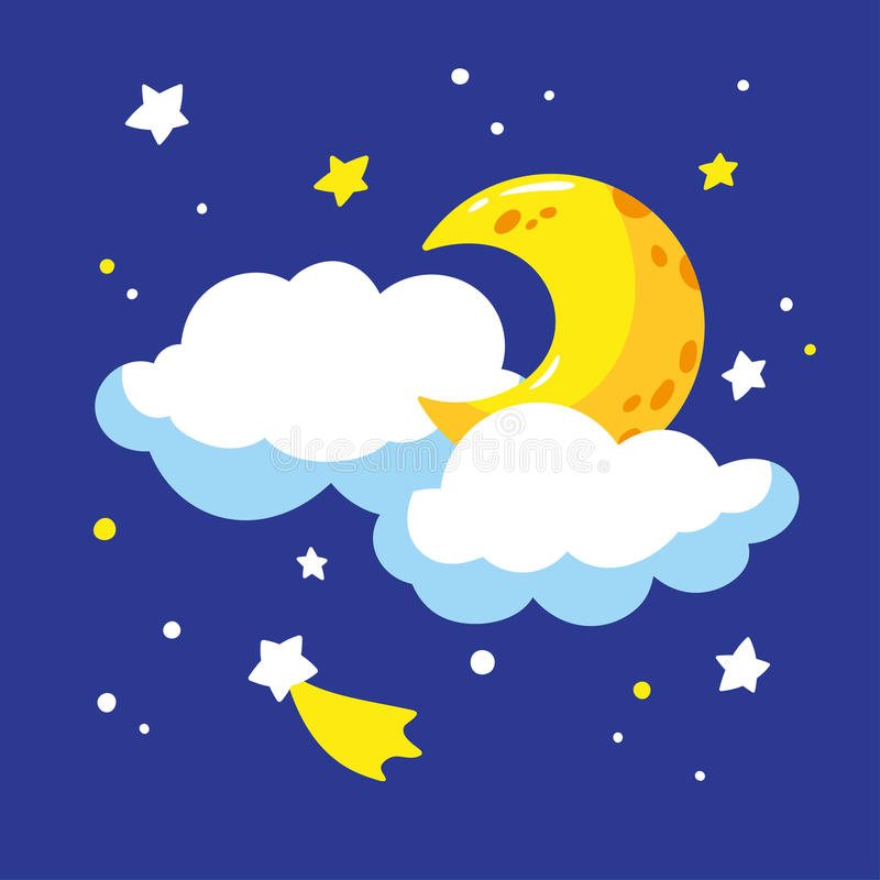 cartoon crescent and clouds in the night sky stock vector rh dreamstime com night sky vector image night sky vector art