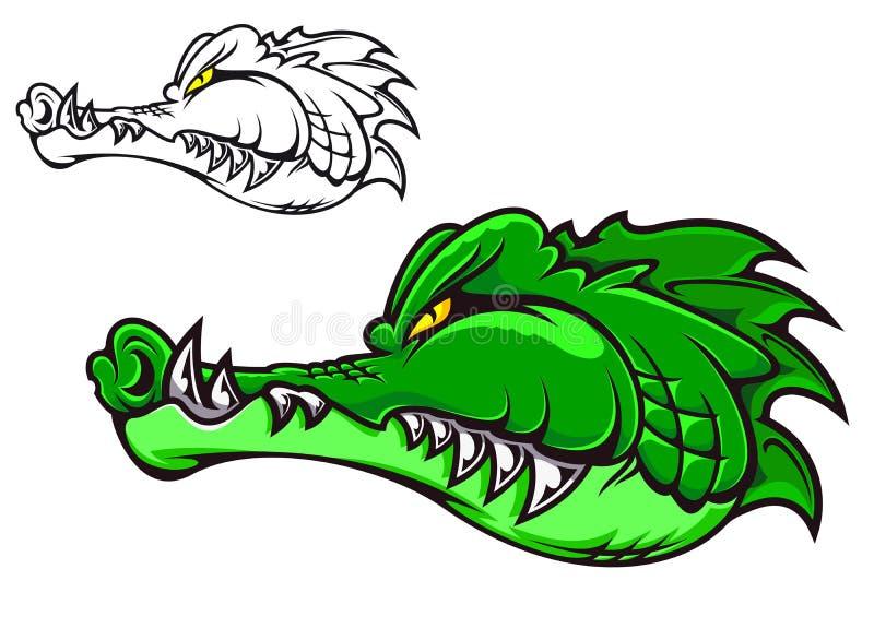 Cartoon crocodile. Head for tattoo or mascot design royalty free illustration
