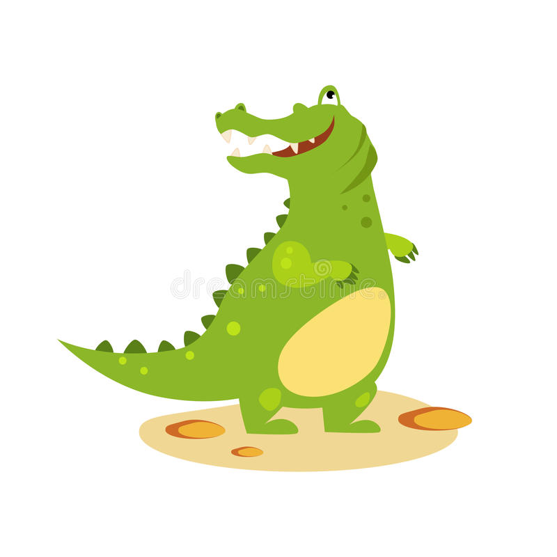 Cartoon Crocodile Looking Up. Flat Style Vector vector illustration