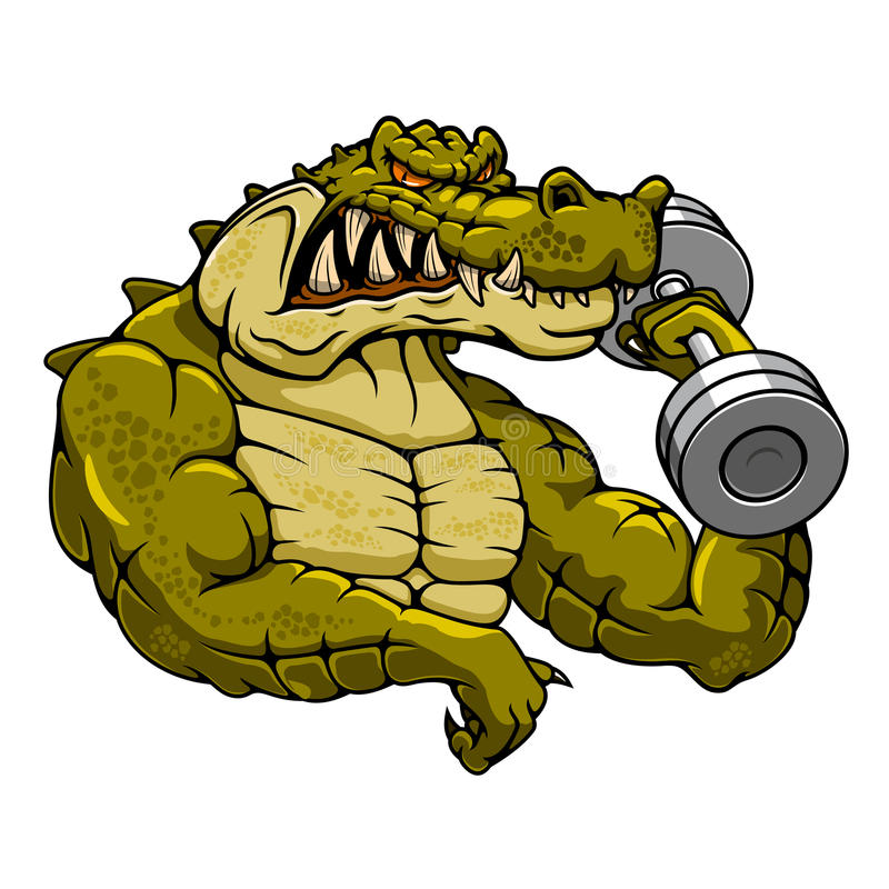 Cartoon crocodile mascot with dumbbell royalty free illustration