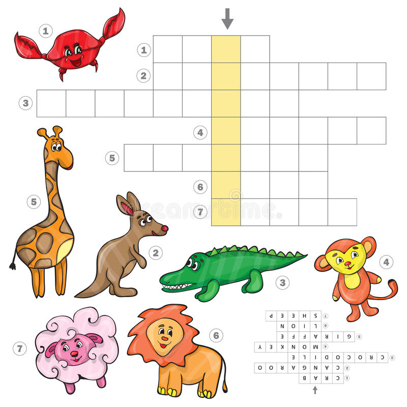 Download Cartoon Crossword Game With Cute African Animals Stock Vector
