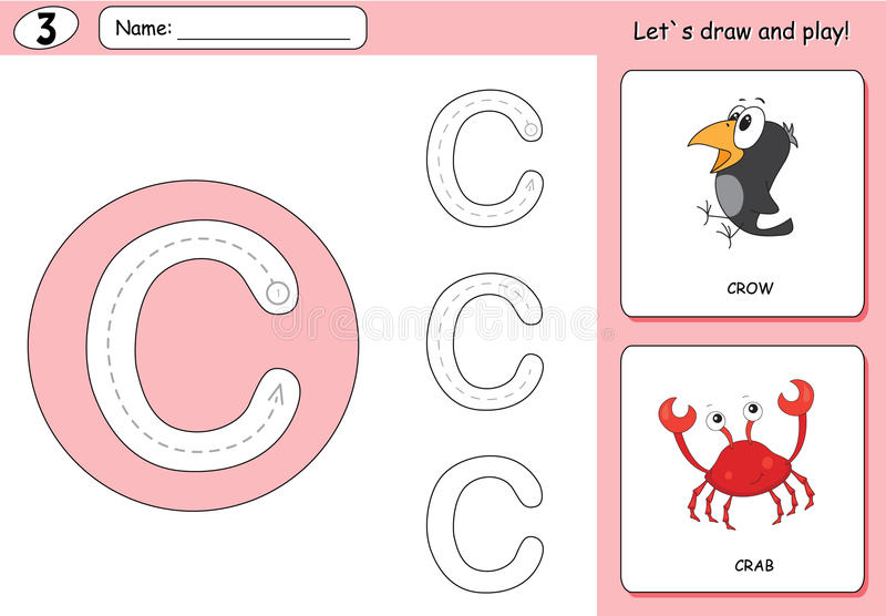 Cartoon crow and crab. Alphabet tracing worksheet: writing A-Z. Coloring book and educational game for kids royalty free illustration