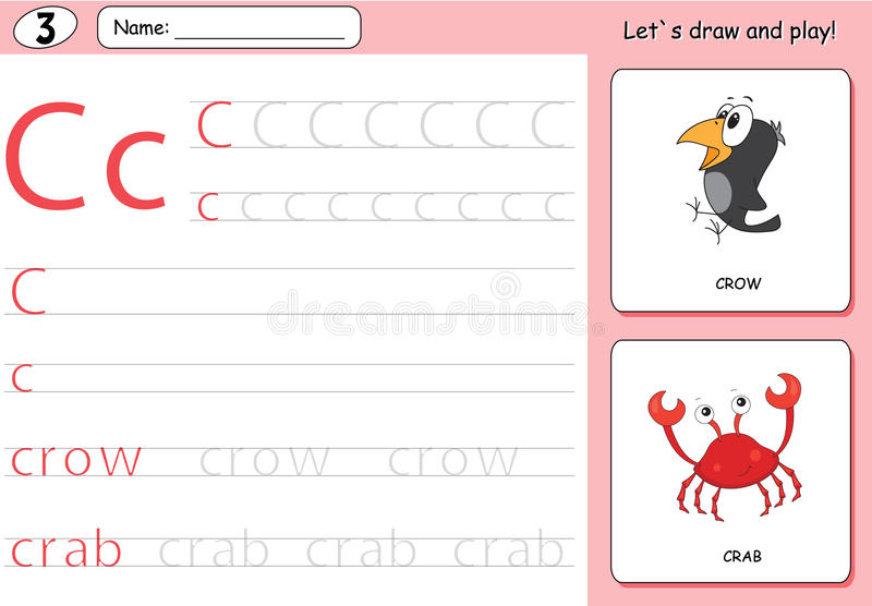 Cartoon crow and crab. Alphabet tracing worksheet: writing A-Z. Coloring book and educational game for kids vector illustration