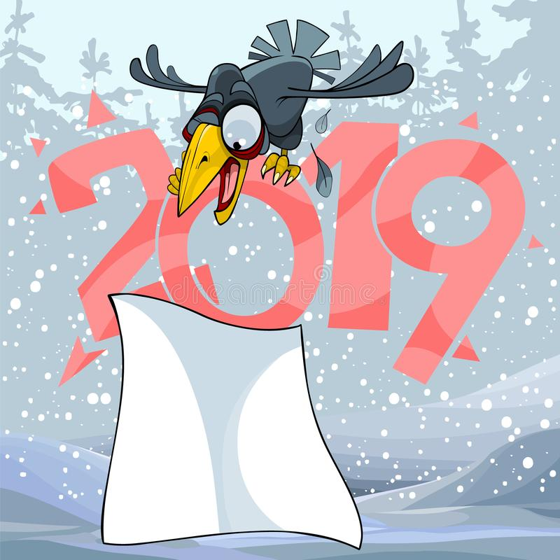 Cartoon crow on the sign of 2019 and a blank sheet in the winter forest vector illustration