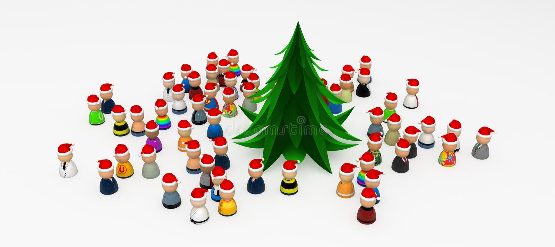 Download Cartoon Crowd, Around Christmas Tree Stock Illustration - Illustration: 11875187