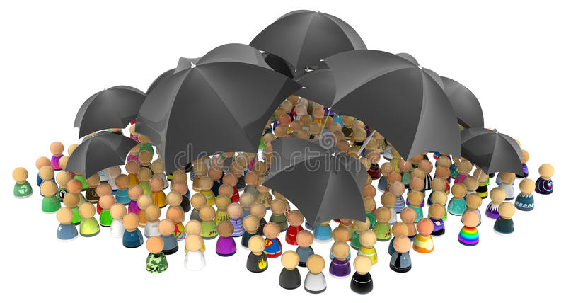 Cartoon Crowd, Black Umbrellas stock illustration