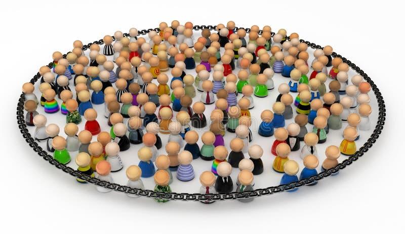 Cartoon Crowd, Chained stock illustration