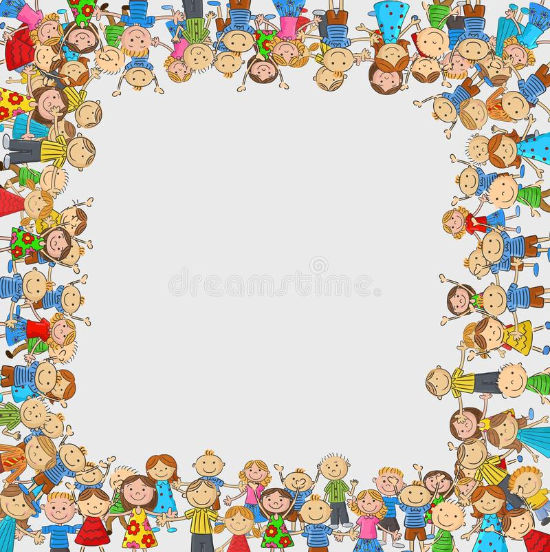 Cartoon Crowd of children with a box shaped empty space royalty free illustration