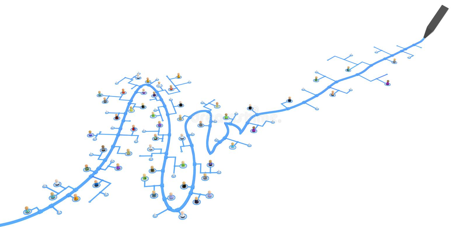 Download Cartoon Crowd, Drawn Link Line Royalty Free Stock Photography - Image: 17845687